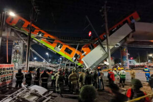 The metro car after Monday night's accident.