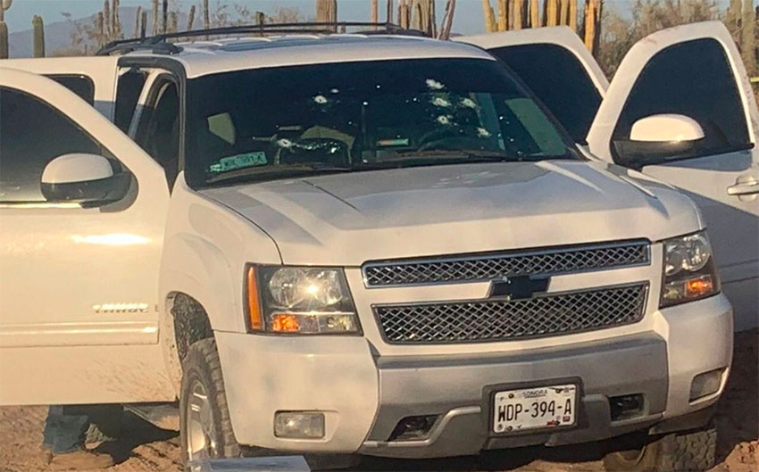 The vehicle in which the two shooting victims were traveling near Caborca, Sonora.