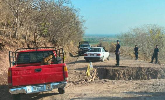 A trench blocks access to Aguililla, Michoacán.