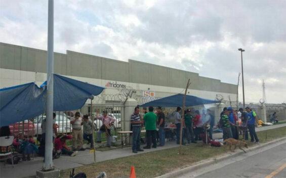 Tridonex workers on strike in 2019 in Matamoros.