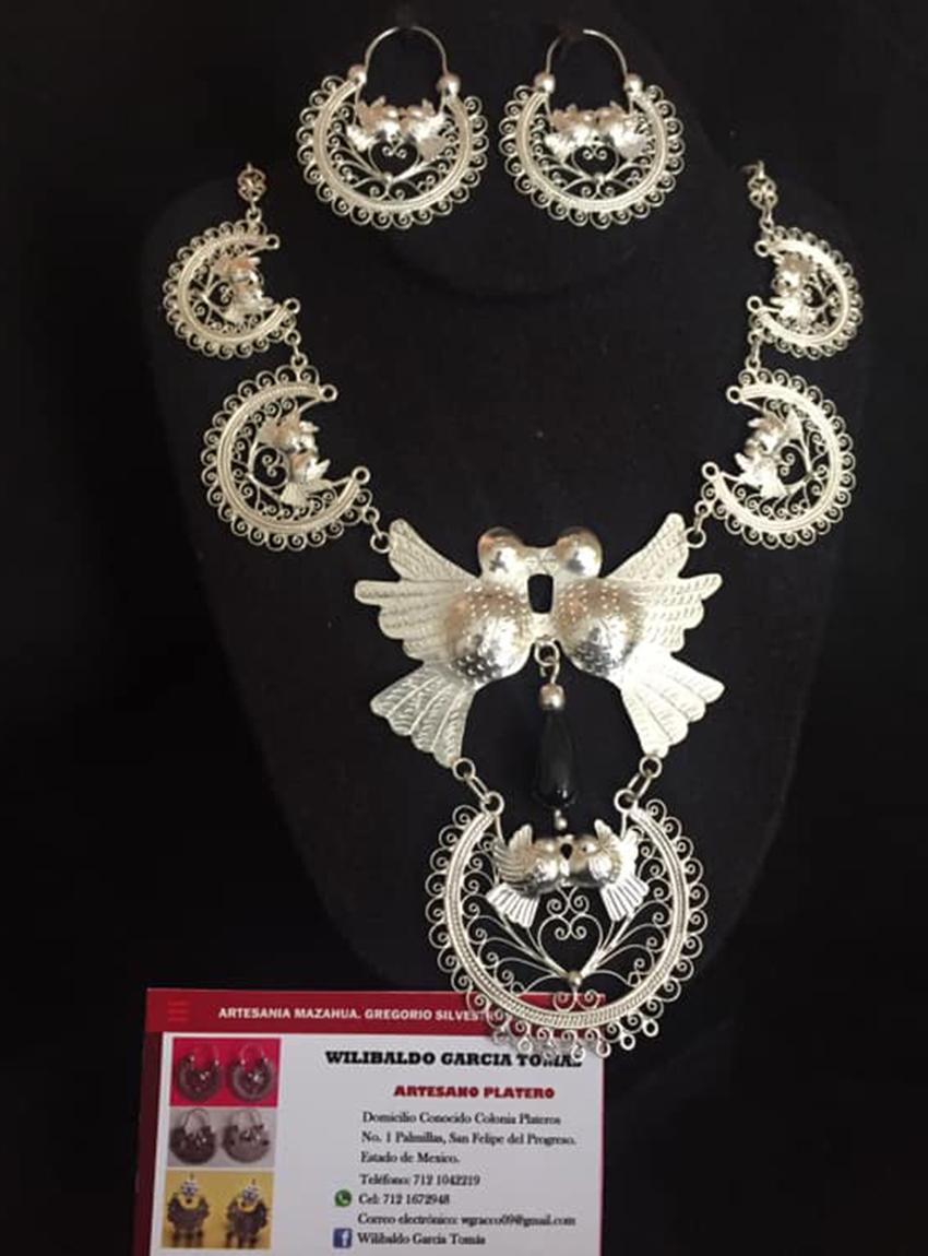 Filigree earrings and necklace, a reinterpretation of traditional José Wilibaldo García earrings.