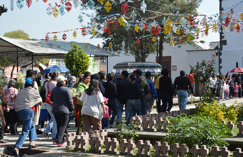 Funeral at a church in San Francisco Tlaltenco, in Mexico City