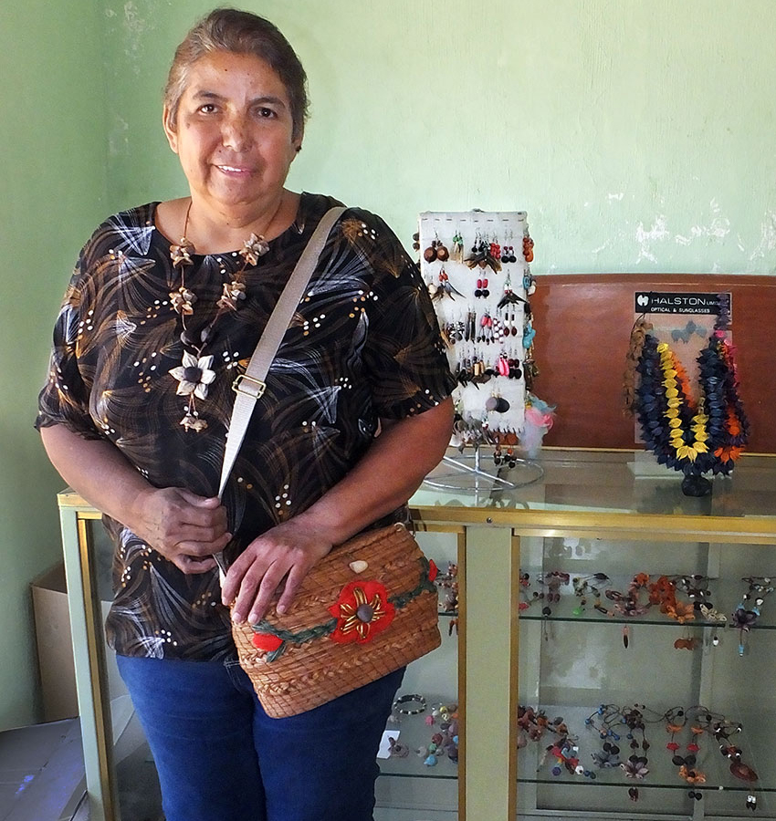 Marina Bañuelos with handcrafted creations