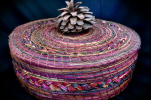Marina Bañuelos pine-needle bowl with cover