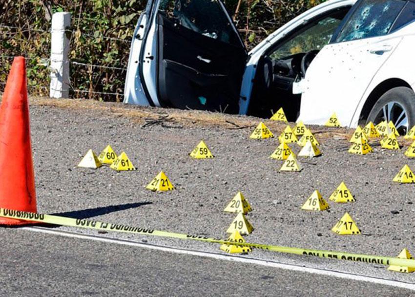 Crime scene markers in Reynosa, Tamaulipas