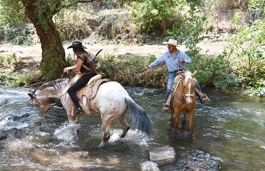 Aguilar helps his rider navigate some treacherous ground.