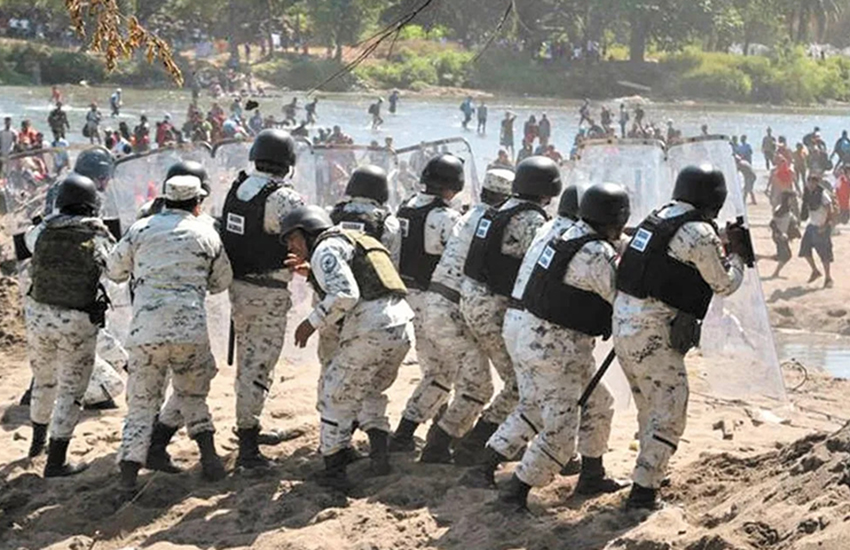Mexico's National Guard repelling Suchiate River migrants from crossing into Mexico