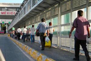 Pedestrians at the Nuevo Laredo border crossing in Tamaulipas.