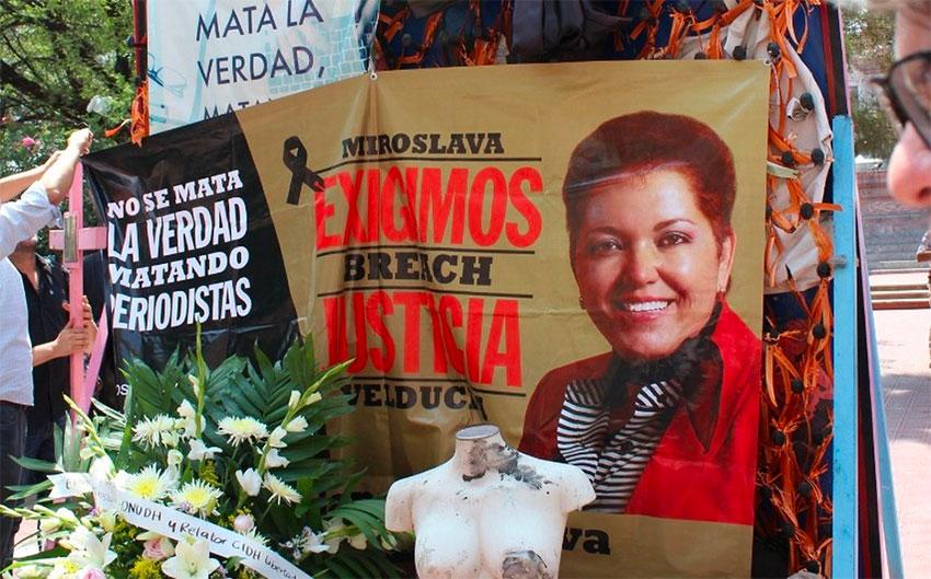 A photo of Miroslava Breach at a memorial.