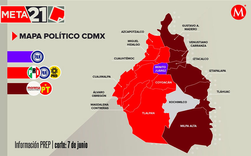 The new political map of Mexico City.