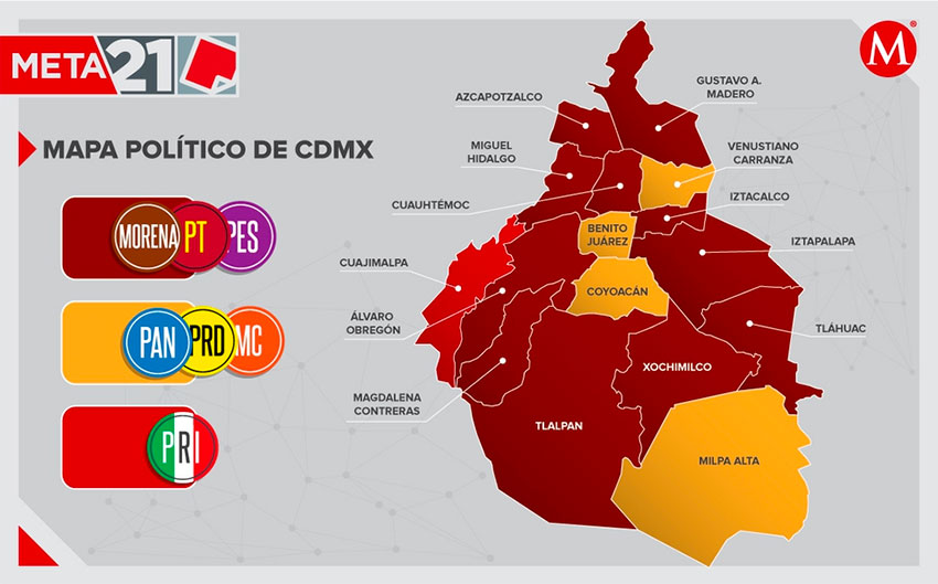 The Mexico City map as it appeared following the 2018 election.