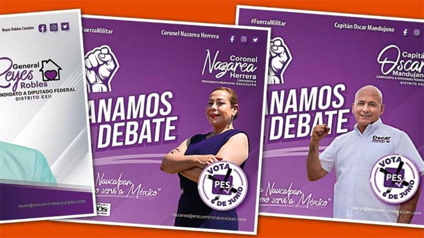 Campaign materials of the Fuerza Militar in Naucalpan.