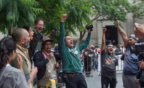 Supporters of legalization celebrate the court's ruling on Monday.