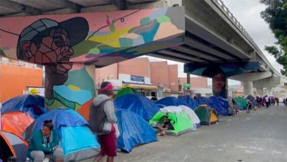 A migrants camp in Tijuana.