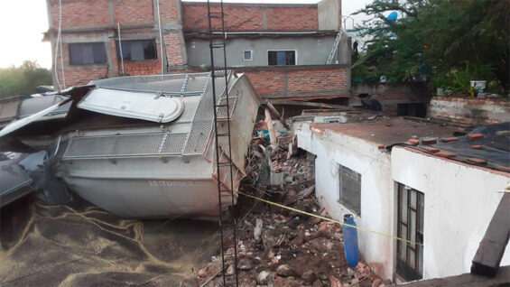 The accident destroyed two houses.