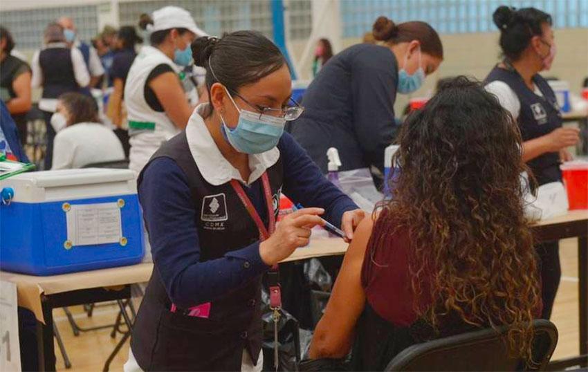 A vaccination center in Tlalpan, Mexico City.