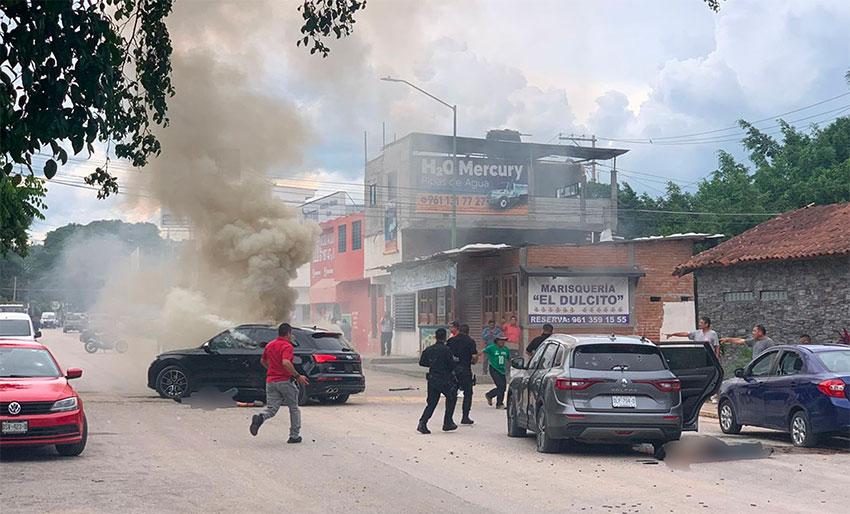 Scene of the ambush in Tuxtla Gutiérrez in which a Sinaloa Cartel plaza chief was killed.