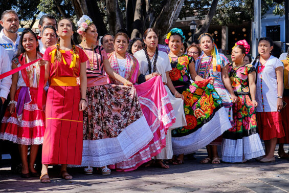 Oaxaca women in traditional dress at the 2020 International Day of Indigenous Languages