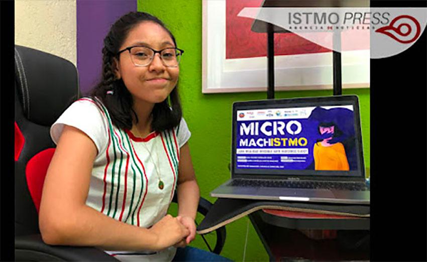 Filmmaker Morales at her computer.