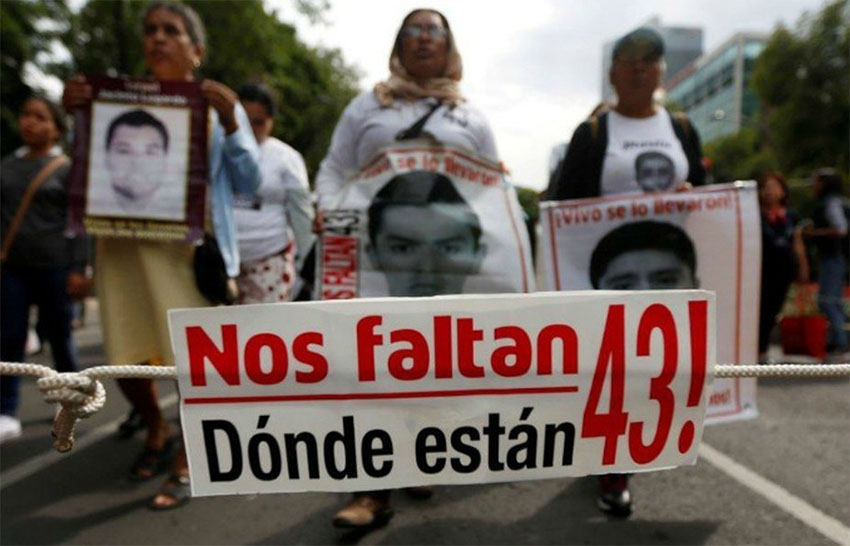 A protest against the 2014 disappearance of 43 students from Iguala, Guerrero
