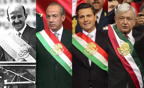 From left, ex-presidents Carlos Salinas, Felipe Calderón, Enrique Peña Nieto and current President López Obrador.