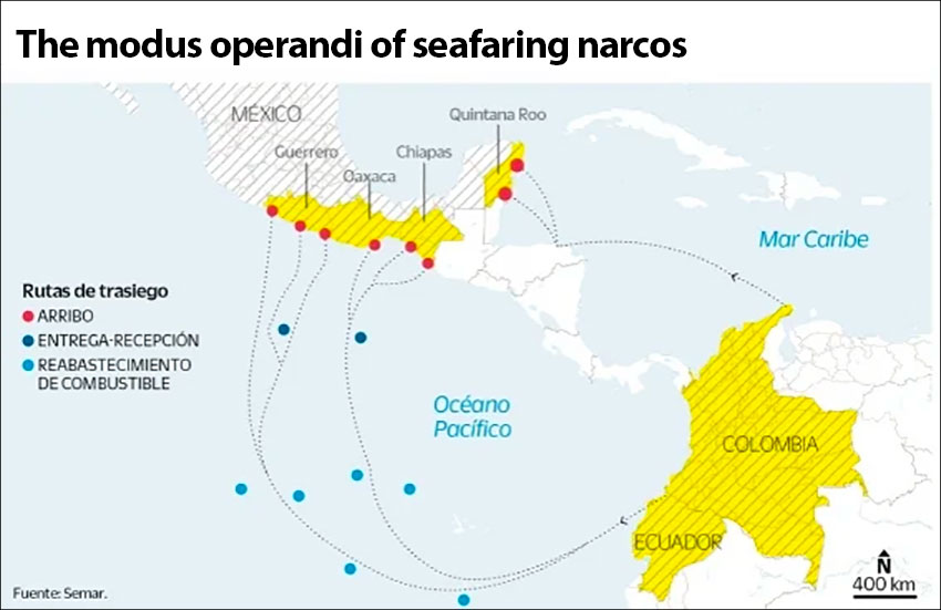 Drug smuggling routes from South America