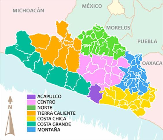 The Tierra Caliente region of Guerrero is indicated in orange.