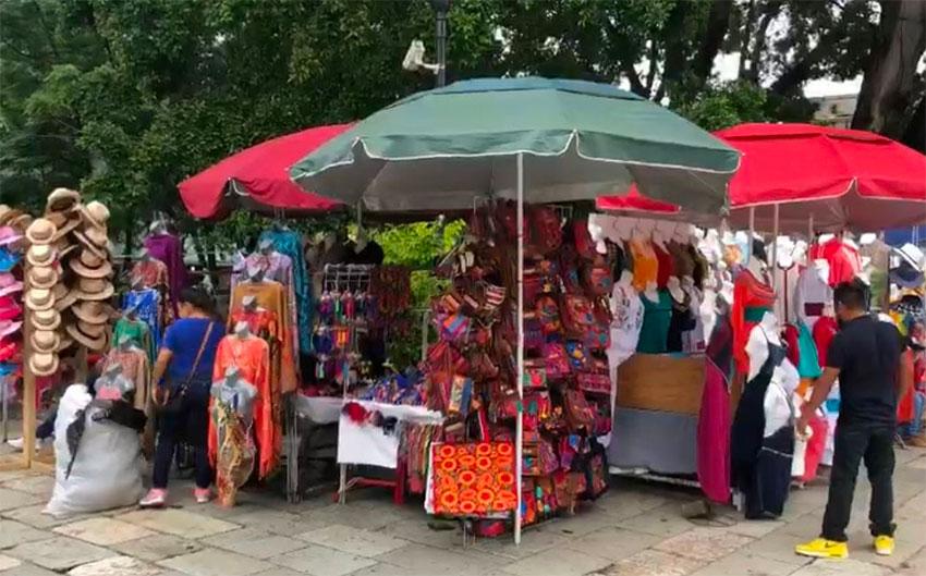 Vendors' stalls in Oaxaca's zócalo.