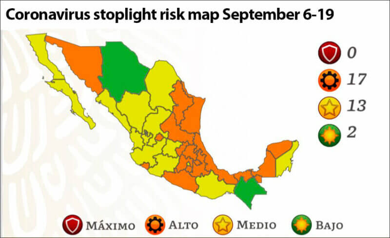 The new stoplight risk map, effective Monday.