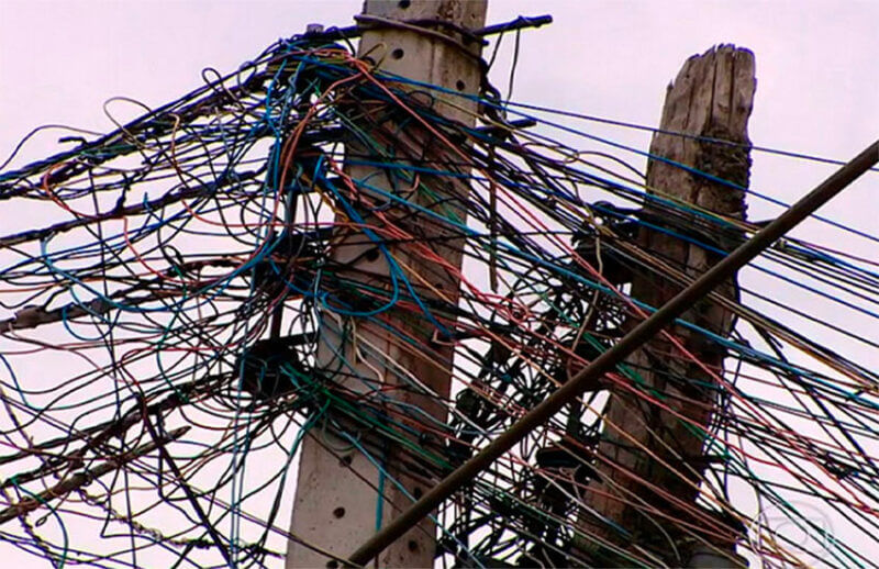 Some suspicious-looking connections on utility poles in Mexico City.